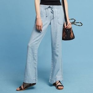 Anthropologie Level 99 Chambray Wide-Leg Pants